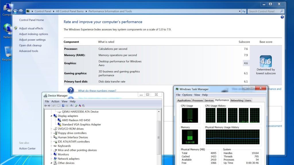 Windows 7 running as a VM. HDMI video and audio pci passthrough